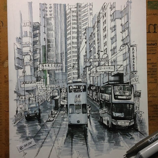 04-Hong-Kong-HAO-Sketches-Fineliners-Urban-Architectural-www-designstack-co