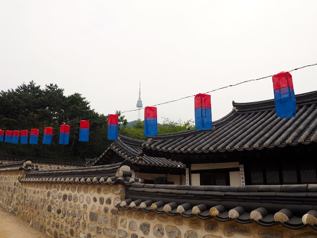 Lanterns in the Namsangol Hanok village, Seoul, South Korea
