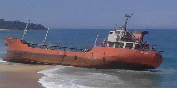 Huge ghost ship washes ashore in Liberia on the west African coast