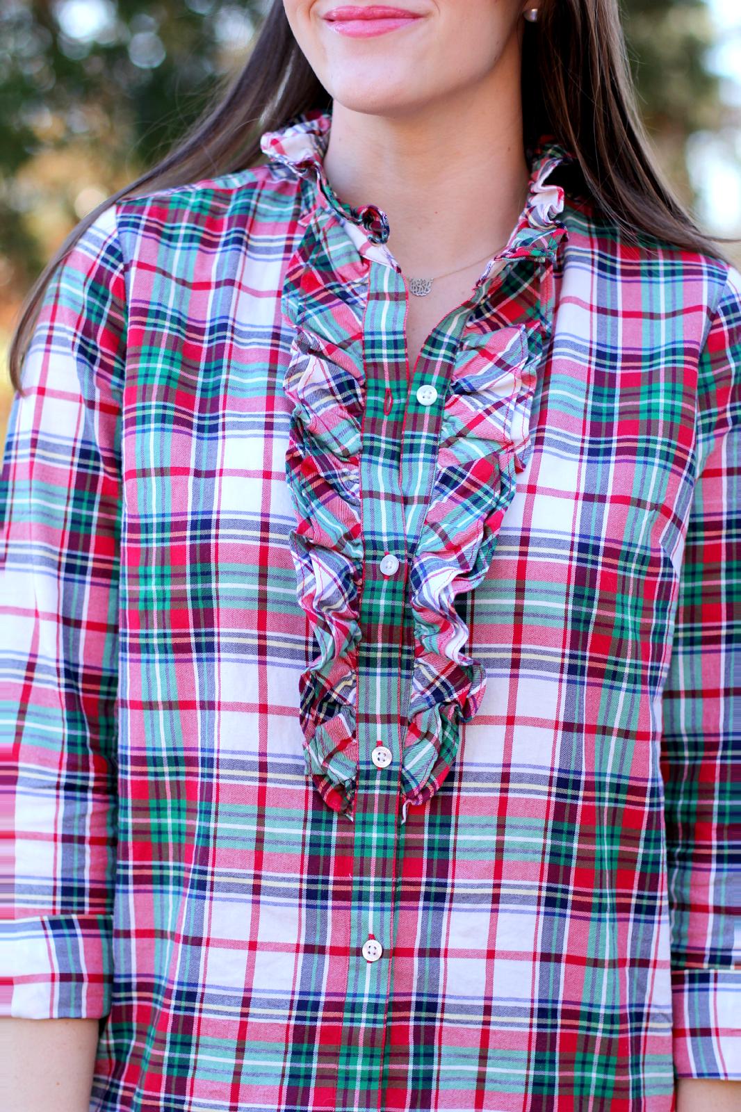 Vineyard Vines Plaid Ruffle Shirt New York City Fashion