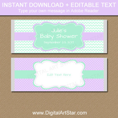 editable girl baby shower party favors - printable chocolate bar labels in mint and lavender