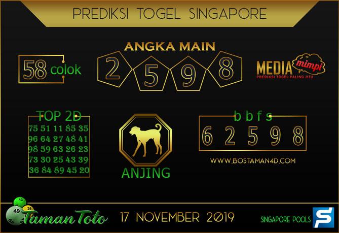 Prediksi Togel SINGAPORE TAMAN TOTO 17 NOVEMBER 2019