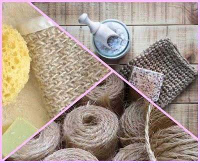 Manoplas de crin o fibras naturales tejidas a ganchillo