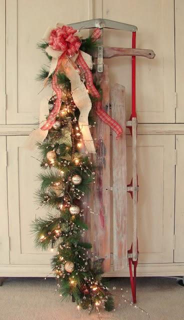 custom comforts - Vintage Sled Christmas Decoration