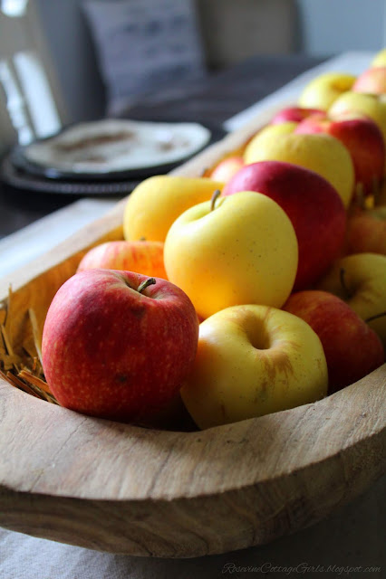 photo of wooden dough bowl filled with yellow and red apples. Fall Decor, Autumn Decorating, Table Decor, Cottage, Country, Natural Decor apple tablescape, rosevinecottagegirls.com