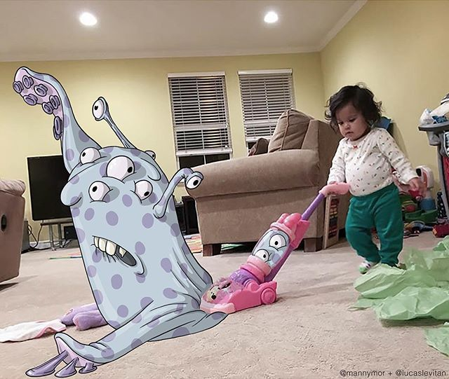 foto unik lucu kreatif dan inovatif foto asli yang dipadukan dengan kartun-13