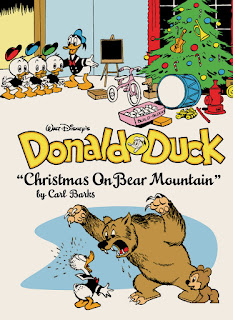 front cover of Donald Duck comic Christmas on Bear mountain showing two illustrations