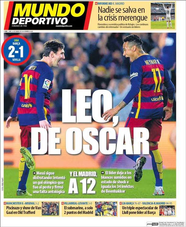 Portada del periódico Mundo Deportivo, lunes 29 de febrero de 2016