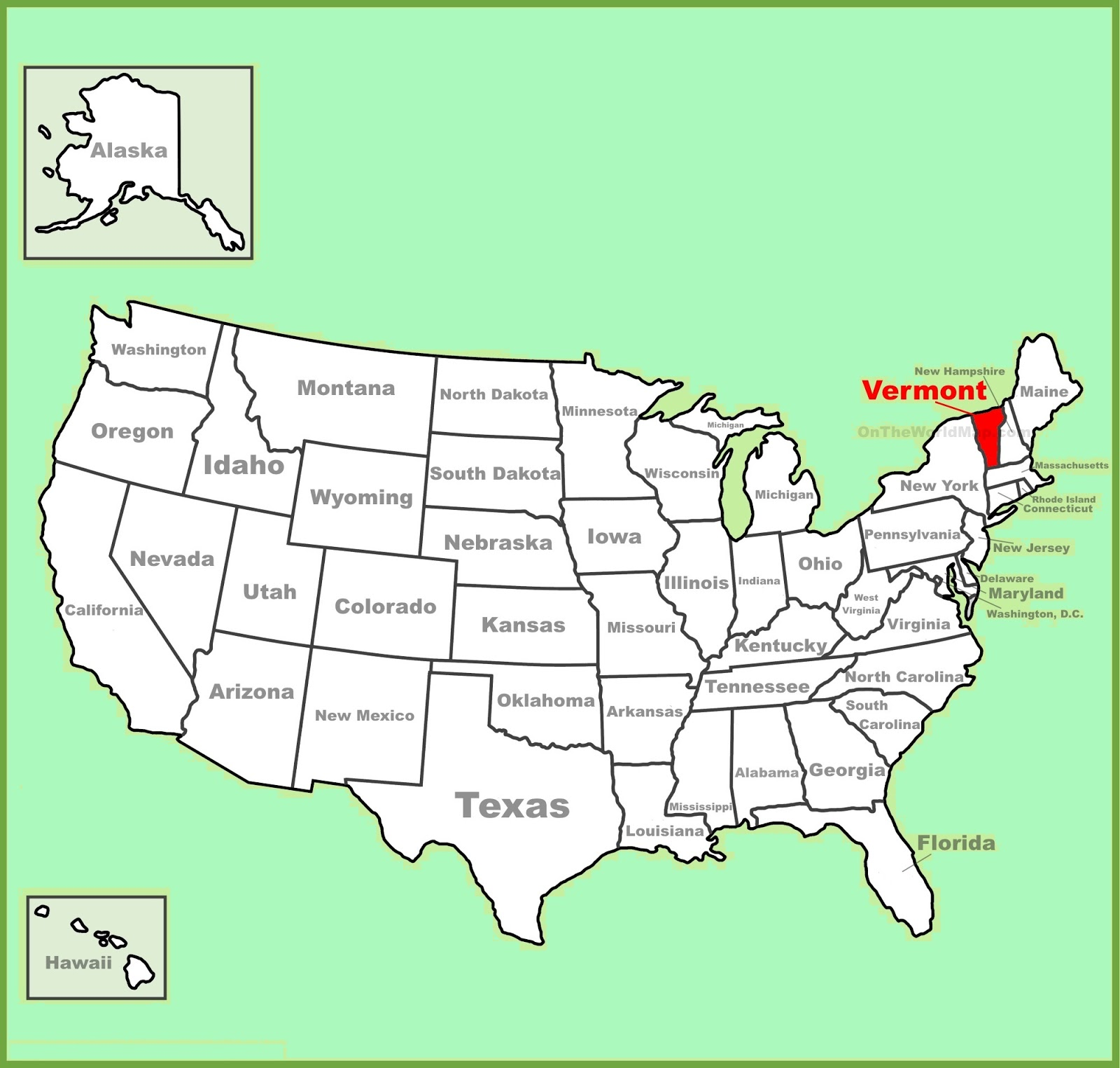 Map of Vermont State Map of USA