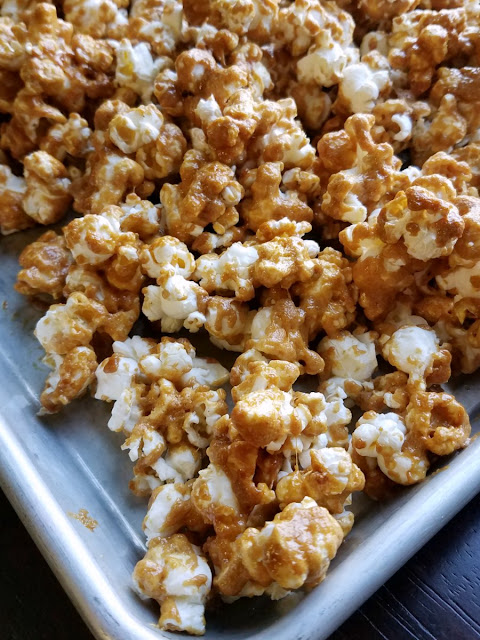 tray of peanut butter popcorn fresh from the oven