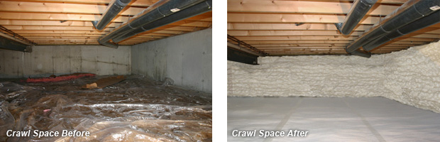 Before and After Crawl Space Insulation - Delmarva Insulation