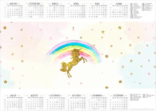 Unicorn Party Free Printable Calendar 2017