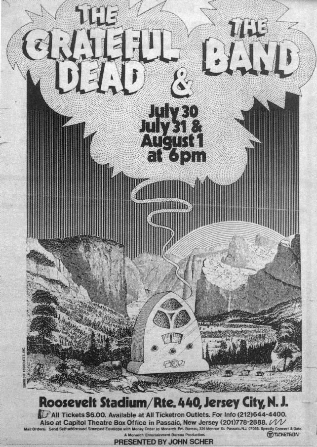 Image result for grateful dead Roosevelt Stadium, Jersey City 1973 08 01