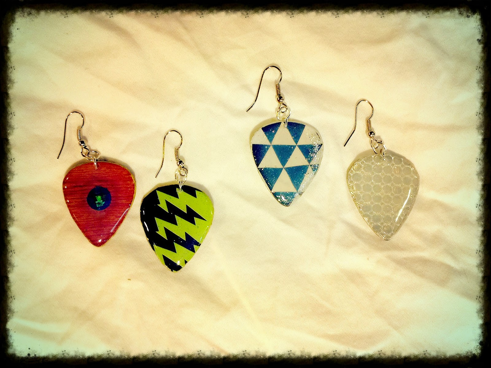 Scrapbook designs guitar pick earrings!