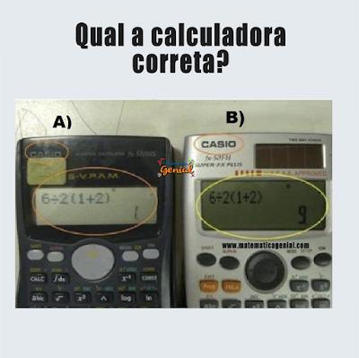 Desafio - Qual a calculadora correta? Dúvida matemática