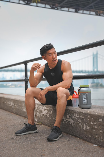 Leo Chan working out with Isopure Apple Pie Protein | Asian Model