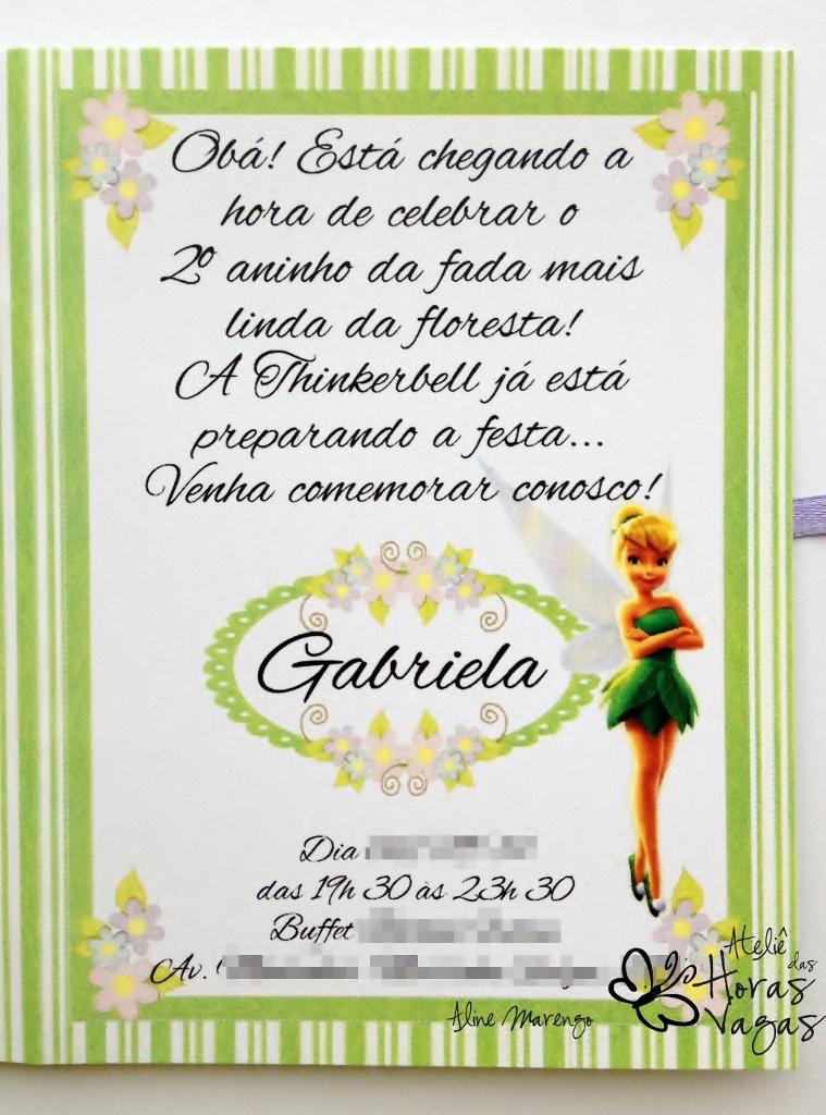 convite artesanal aniversário infantil menina fada thinker bell sininho reino das fadas verde e lilás