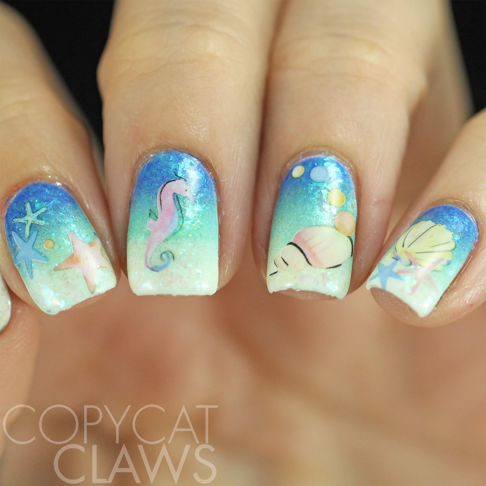Copycat claws 40 great nail art ideas things in the water below are the photos of the 4 sheets of water decals that came in the gift set most of the sheets are fishshellbeach themed but there is a sheet prinsesfo Image collections
