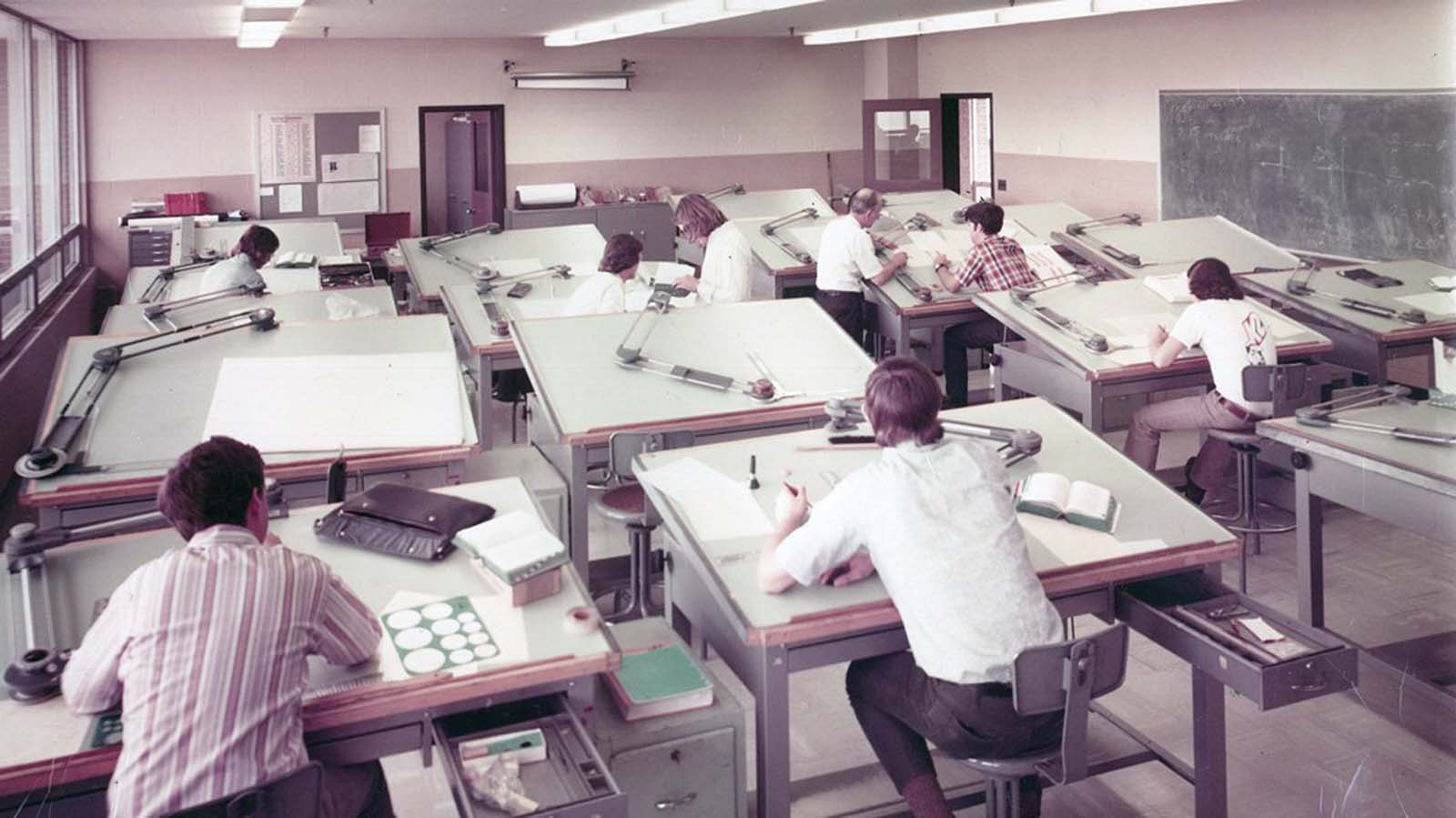 A drafting class in the early 1970s.