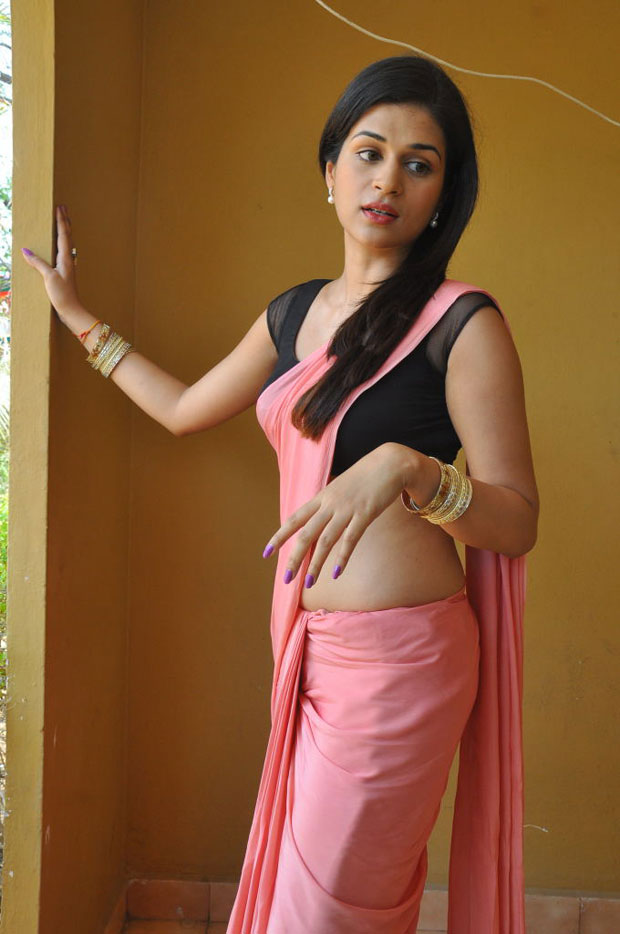 Glorious and decorative Shraddha in pink saree photoshoot