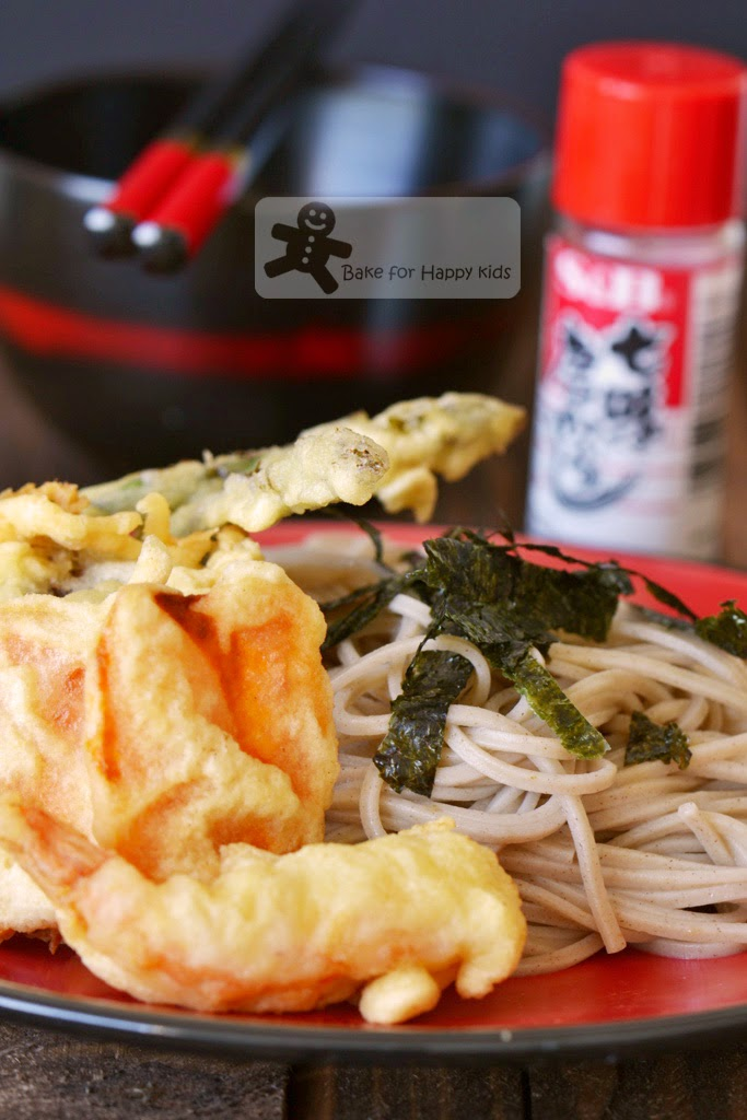 Japanese cold buckwheat noodles zaru soba vegetable tempura