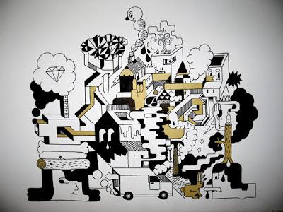 El artista Chris Magnusson de Suecia y sus dibujos contemporaneos.