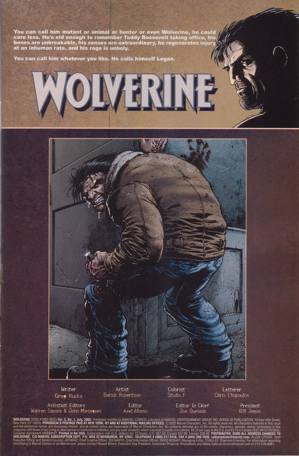 Read online Wolverine (2003) comic -  Issue #1 - 2