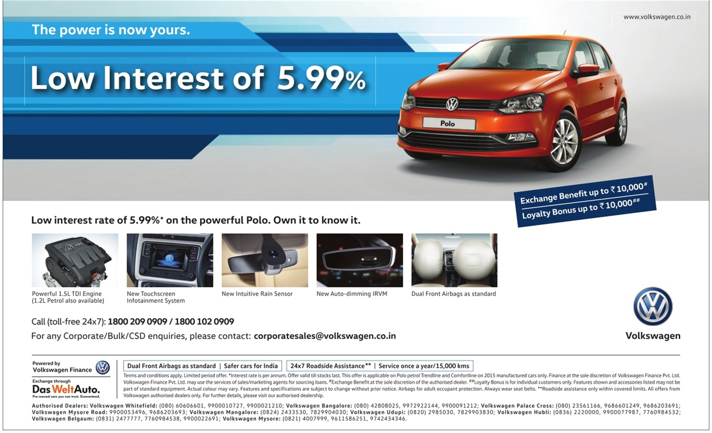 Volkswagen Polo with lowest interest rate of 5.99% | April 2016 discount offers