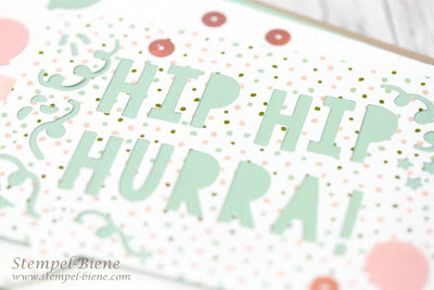 Geburtstagskarte Mädchen; Geburtstagskarte stampin up; Stampin up Frühjahrskatalog; Karte Hurra; Karte Pastellfarben; Stempel-Biene