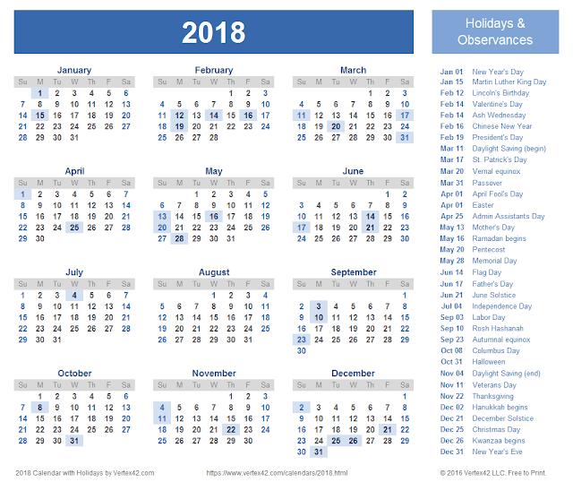 2018 Printable Calendar, Calendar 2018 Template, 2018 Calendar, Blank Calendar 2018