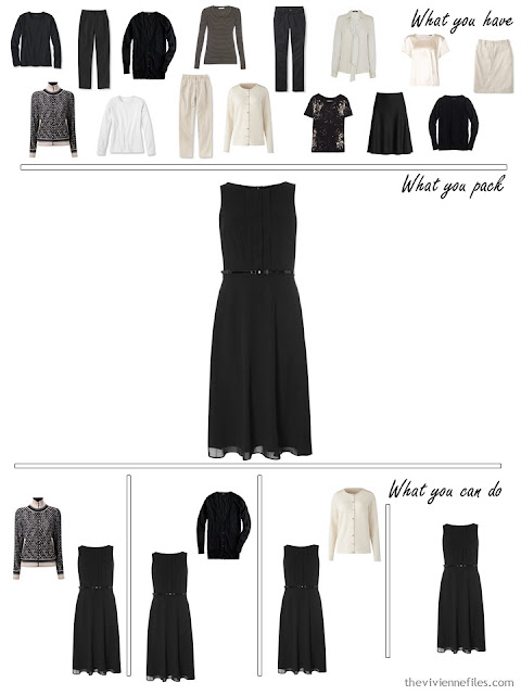 adding a black dress to a black, white and beige travel capsule wardrobe