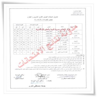 جدول إمتحانات محافظة الاسكندريه الترم الاول 2017 جميع المراحل (ابتدائى - اعدادى - ثانوى)