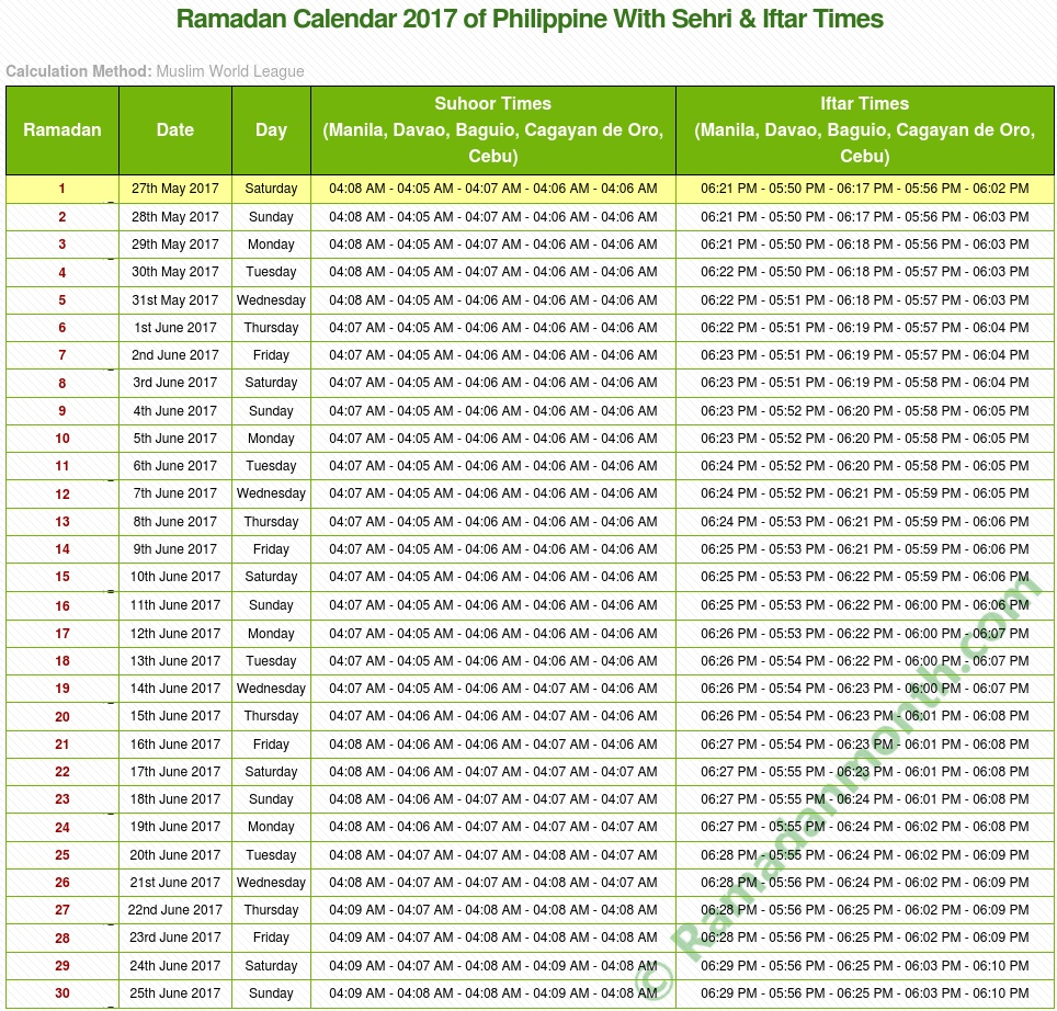 Ramadan calendar 2017 Philippines