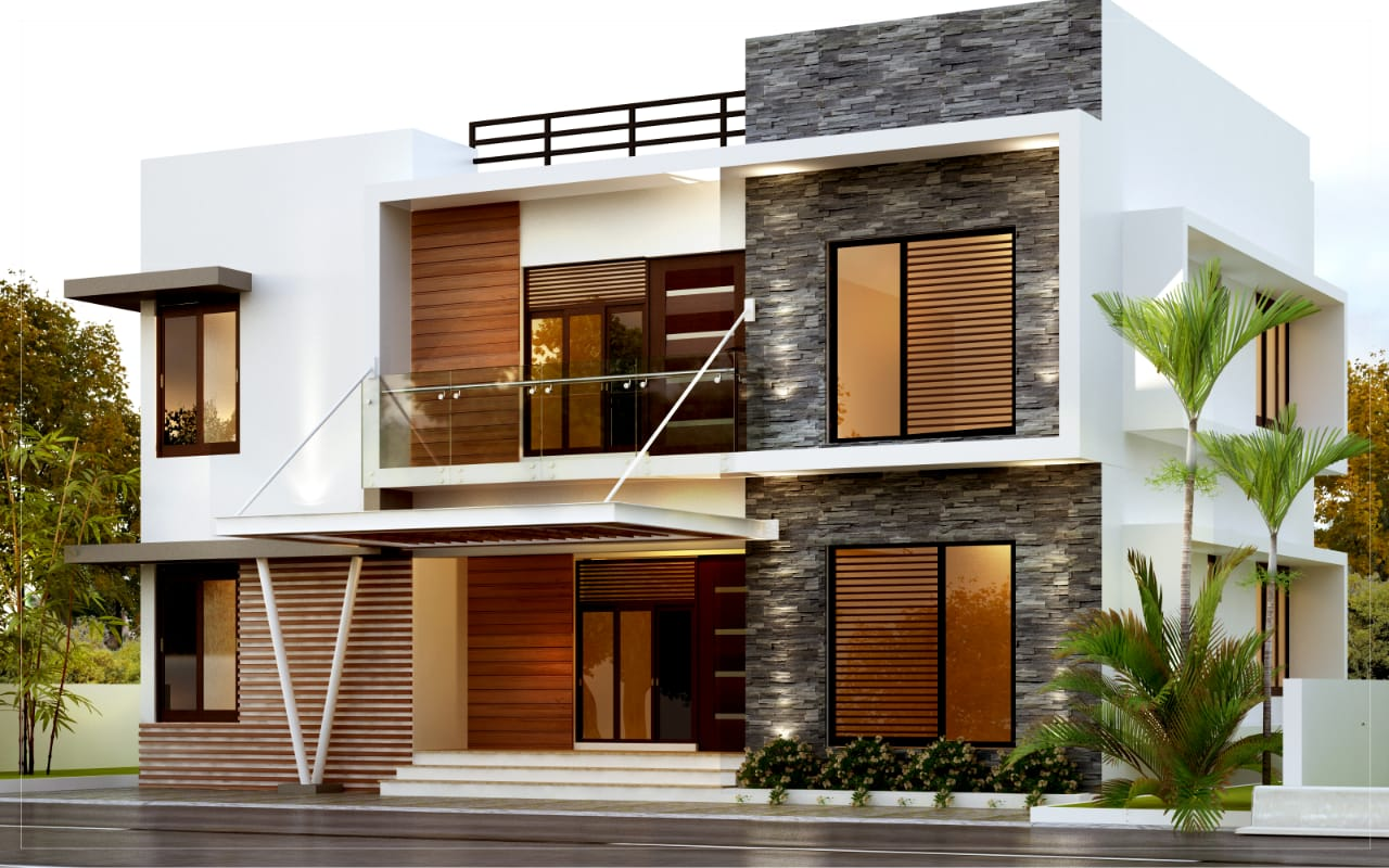 Below 1800 sq ft 4 bed room residence contemporary style front view