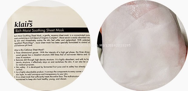 [Review] KLAIR'S Rich Moist Soothing Sheet Mask