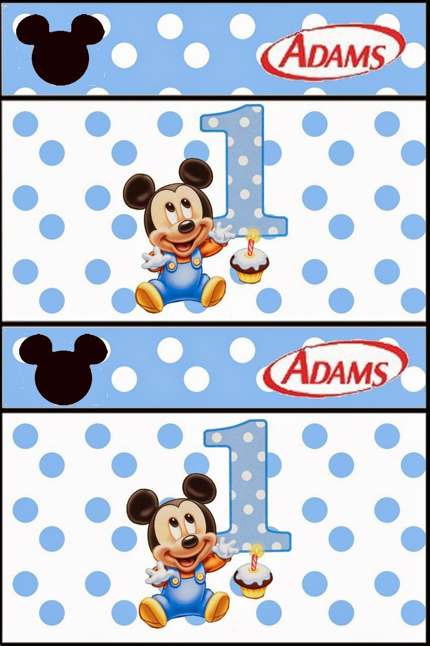Free Printable Candy Bar Gum Labels for a First Year of Mickey with Polka Dots.