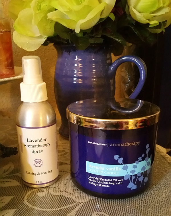 Lavender aromatherapy spray, lavender essential oil bath and body works candle