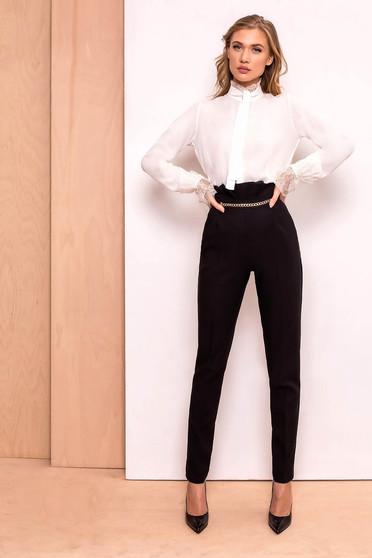 Pantaloni negri eleganti cu talie inalta din stofa usor elastica cu aplicatii metalice aurii