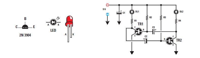 sch ma montage simple du led clignotantes schemas montages realisation electronique electrique. Black Bedroom Furniture Sets. Home Design Ideas