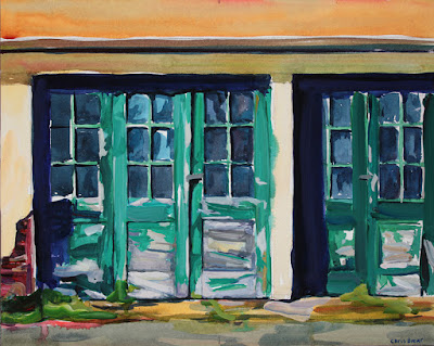 Acrylic painting of the stables at knox farms in east aurora ny.