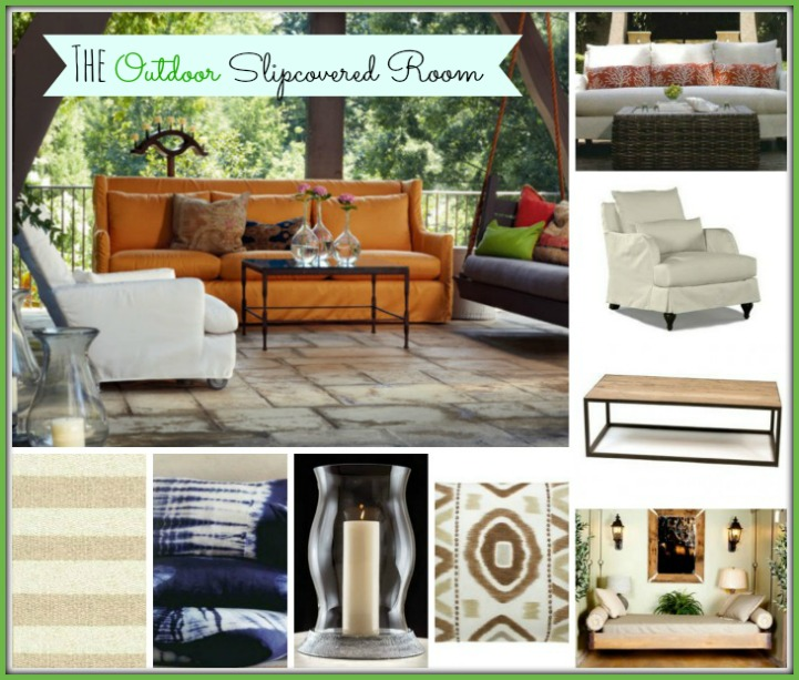 Coastal outdoor slipcover room
