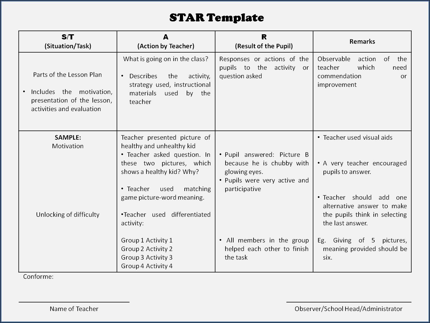 Lawanan Star Principal S Tool For Classroom Observation