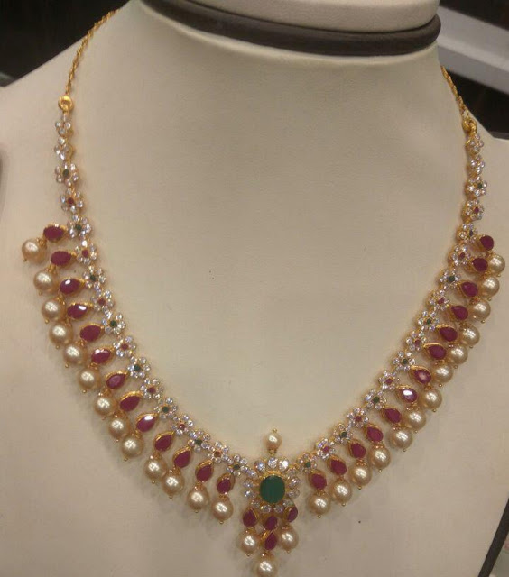 Simple Ruby CZ Necklaces