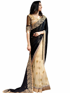 Black Saree, Wedding wear black saree, Partwear Black Saree