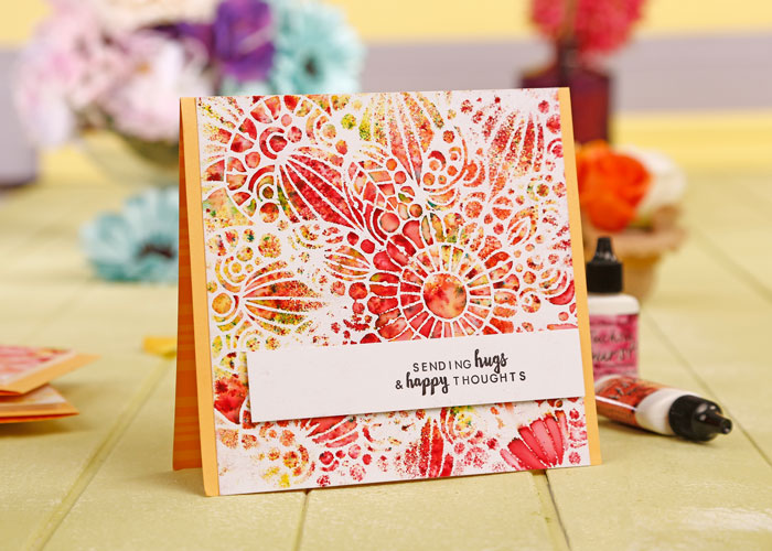 Kim Dellow's Color Burst card from Simply Cards and Papercraft 153 Reds