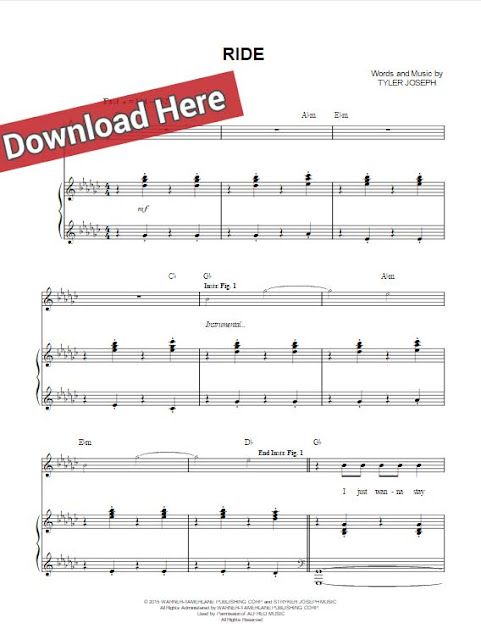 twenty one pilots, ride, sheet music, piano notes, chords, download, keyboard, guitar, klavier noten, PDF