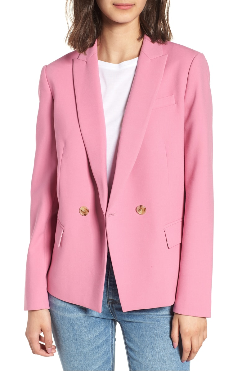 double breasted pink blazer