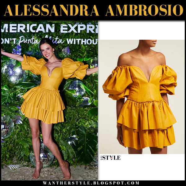 Alessandra Ambrosio in yellow ruffled aje leather mini dress party holiday style december 1