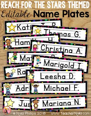 Reach for the Stars theme Name plates editable