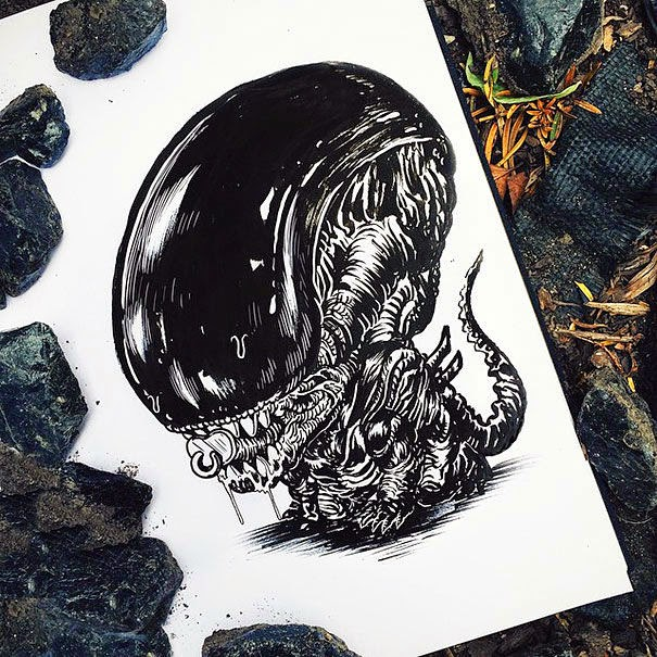 03-Alien-Alex-Solis-Baby-Terrors-Drawings-Horror-Movie-Villains-www-designstack-co
